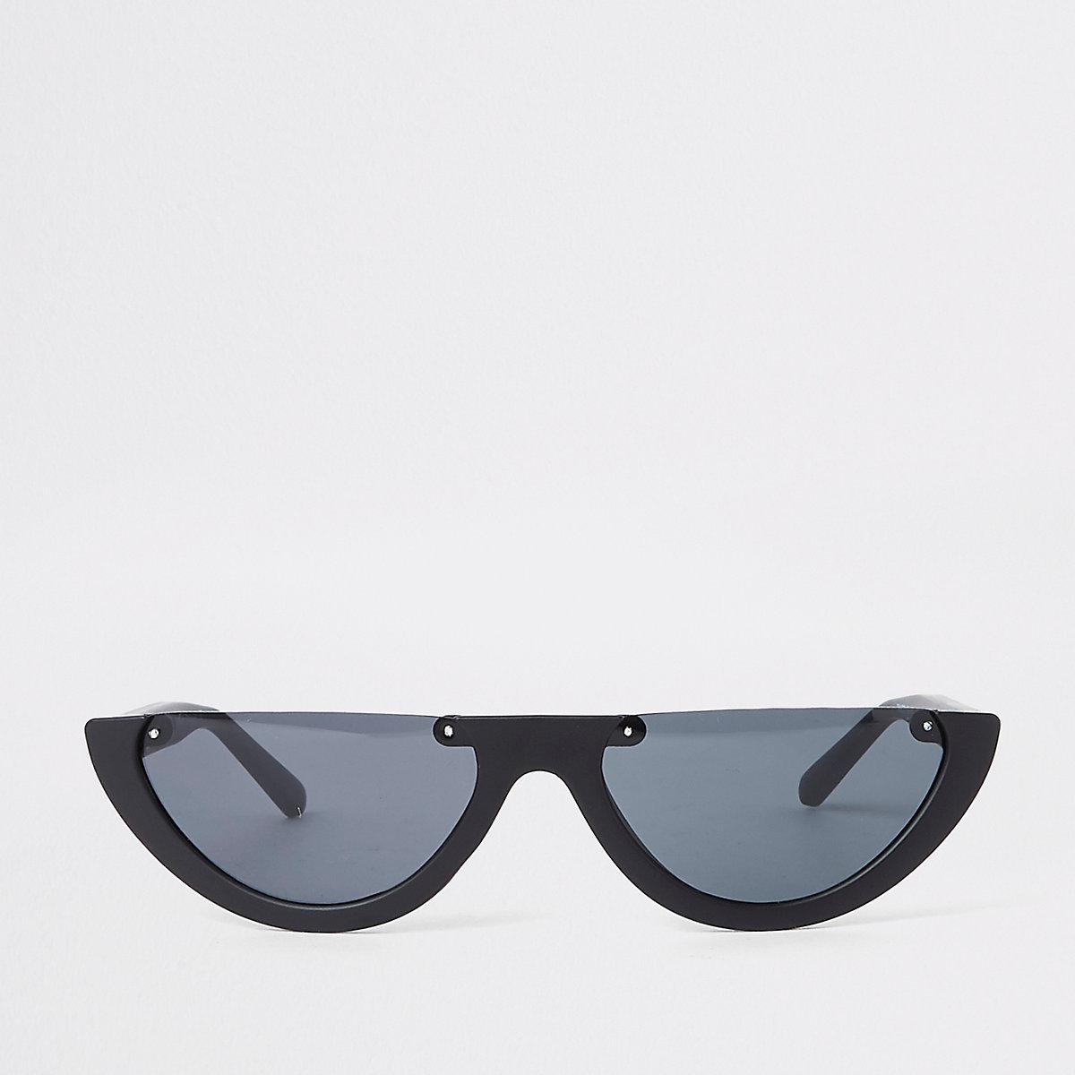 Black smoke lens half-frame sunglasses