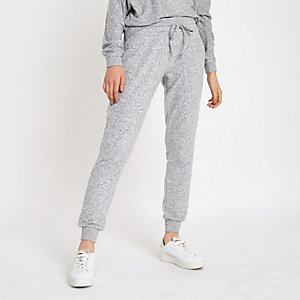 Grey diamante embellished brushed joggers