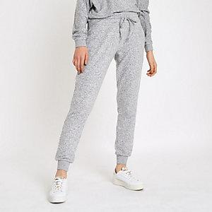 Pantalon de jogging brossé gris à strass