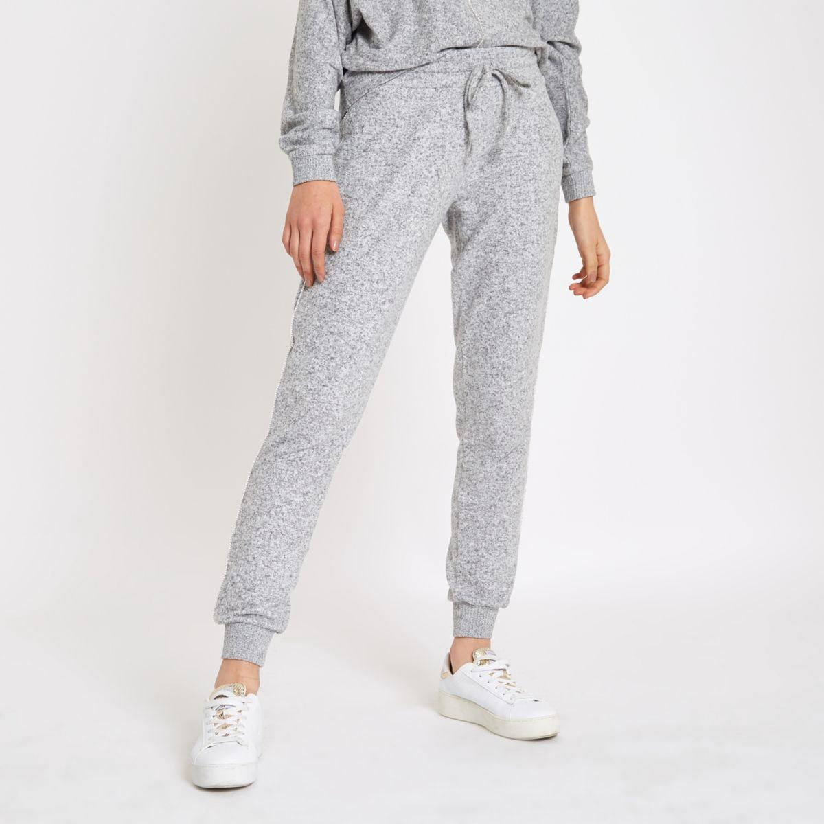 Grey rhinestone embellished brushed joggers