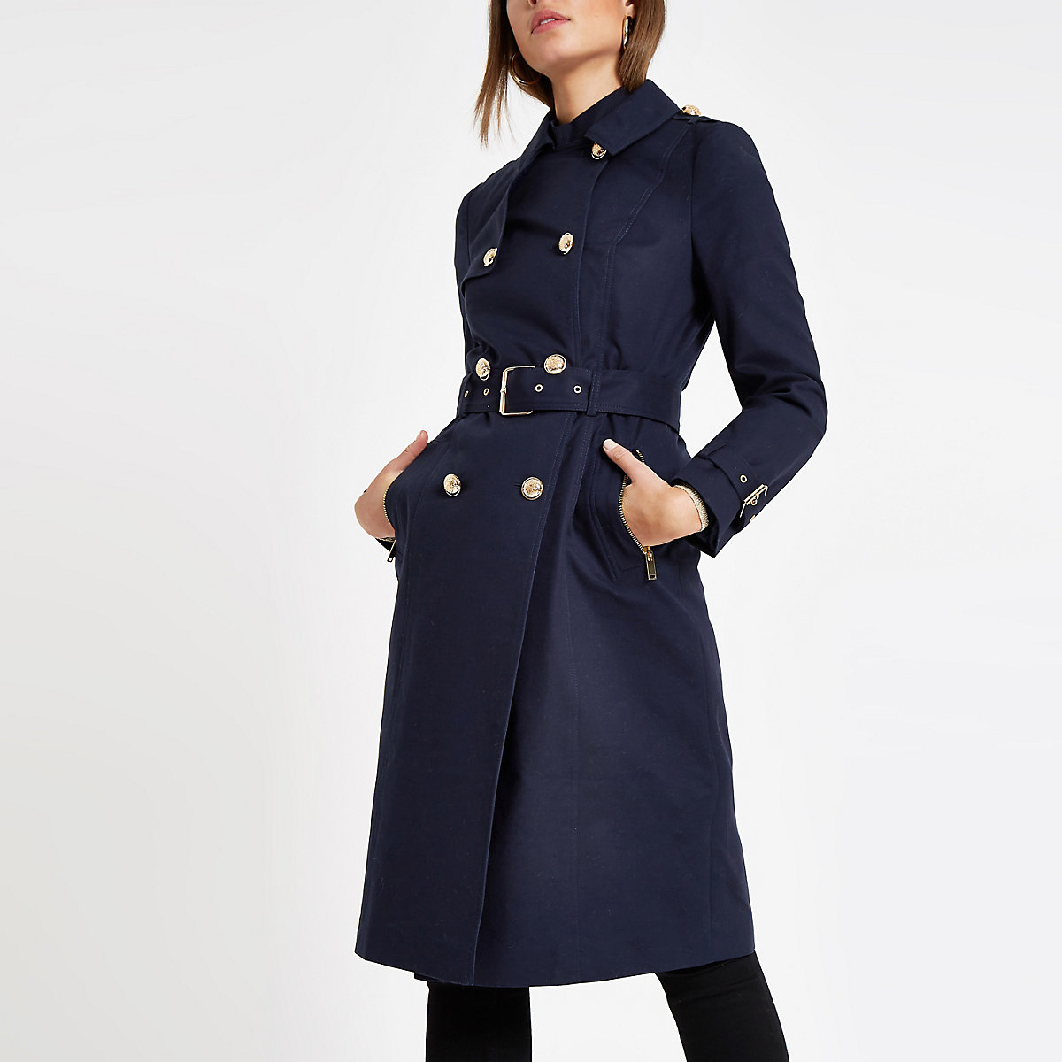 Navy double breasted belted trench coat