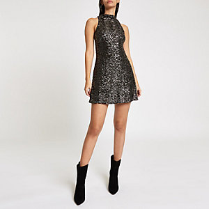 Dark grey sequin sleeveless swing dress