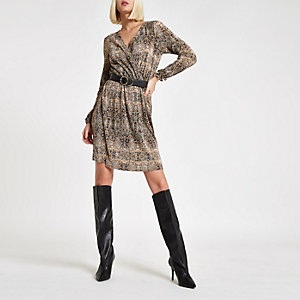 Brown plisse snake print waisted mini dress