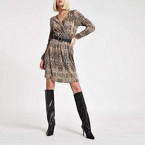 Mini-robe imprimé serpent marron plissée cintrée