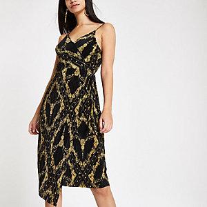 Zwarte plissé getailleerde midi-jurk met kettingprint