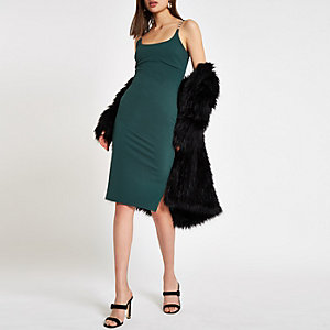 Dark green ribbed rhinestone trim bodycon dress