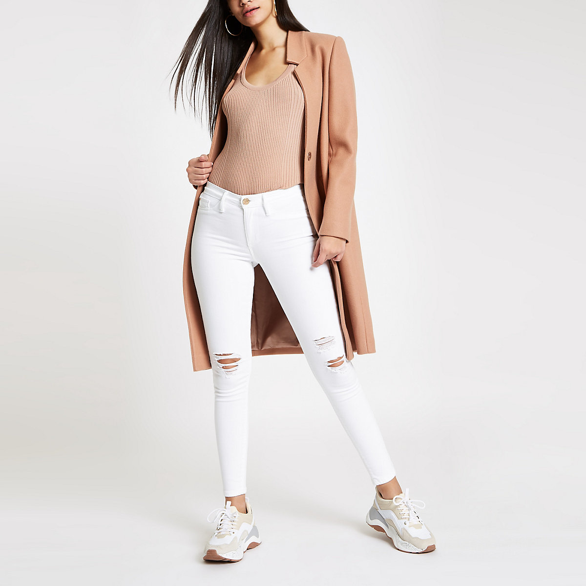 White RI Molly mid rise ripped jeggings