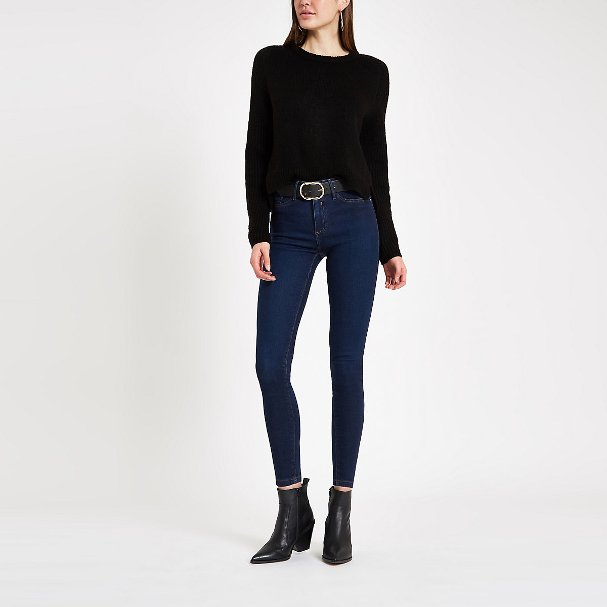Dark blue mid rise Molly jeggings