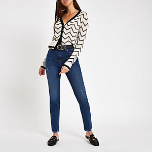 Donkerblauwe skinny-fit denim jeans