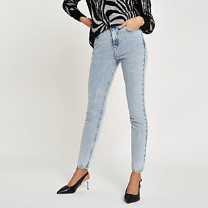 Light blue skinny fit rigid denim jeans