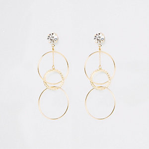 Gold tone rhinestone interlinked drop earrings