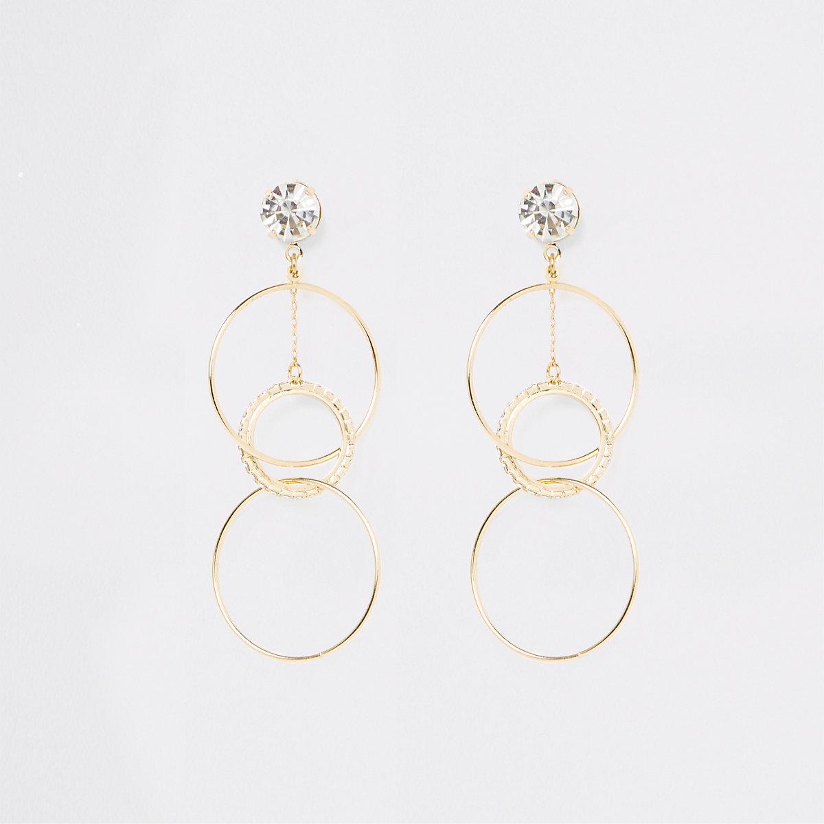 Gold tone rhinestone interlinked drop earrings