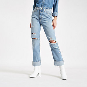 Mid blue ripped turn-up hem mom jeans