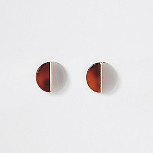 Brown resin split circle stud earrings