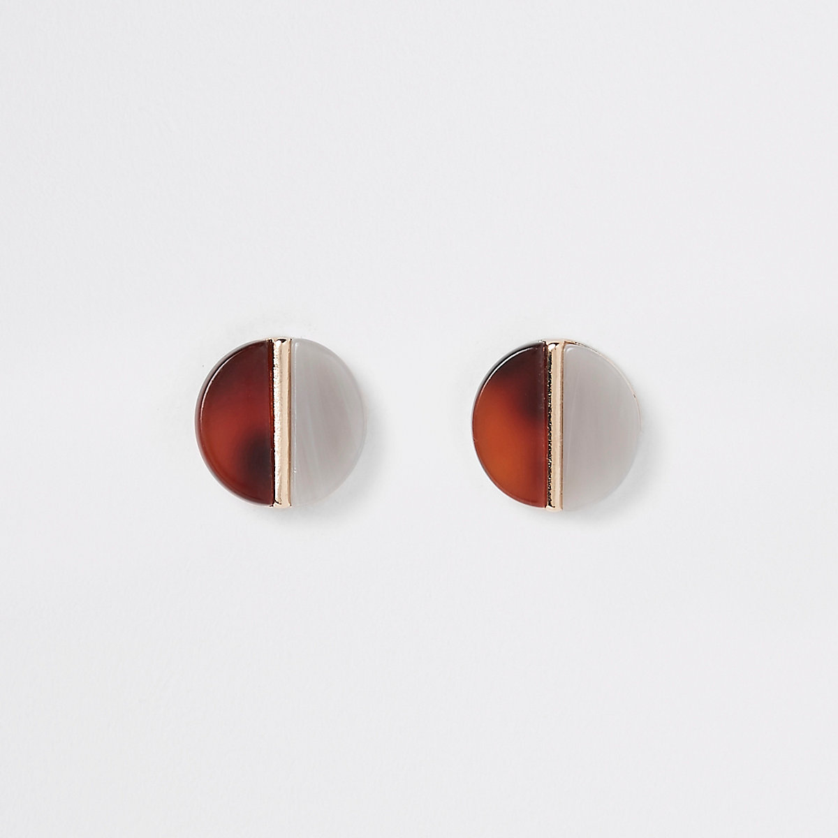 Brown resin split circle stud earrings