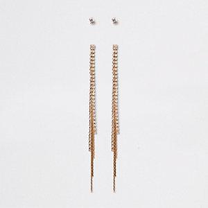 Gold tone diamante tassel stud earrings pack