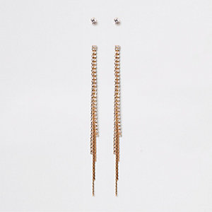 Gold tone rhinestone tassel stud earrings pack
