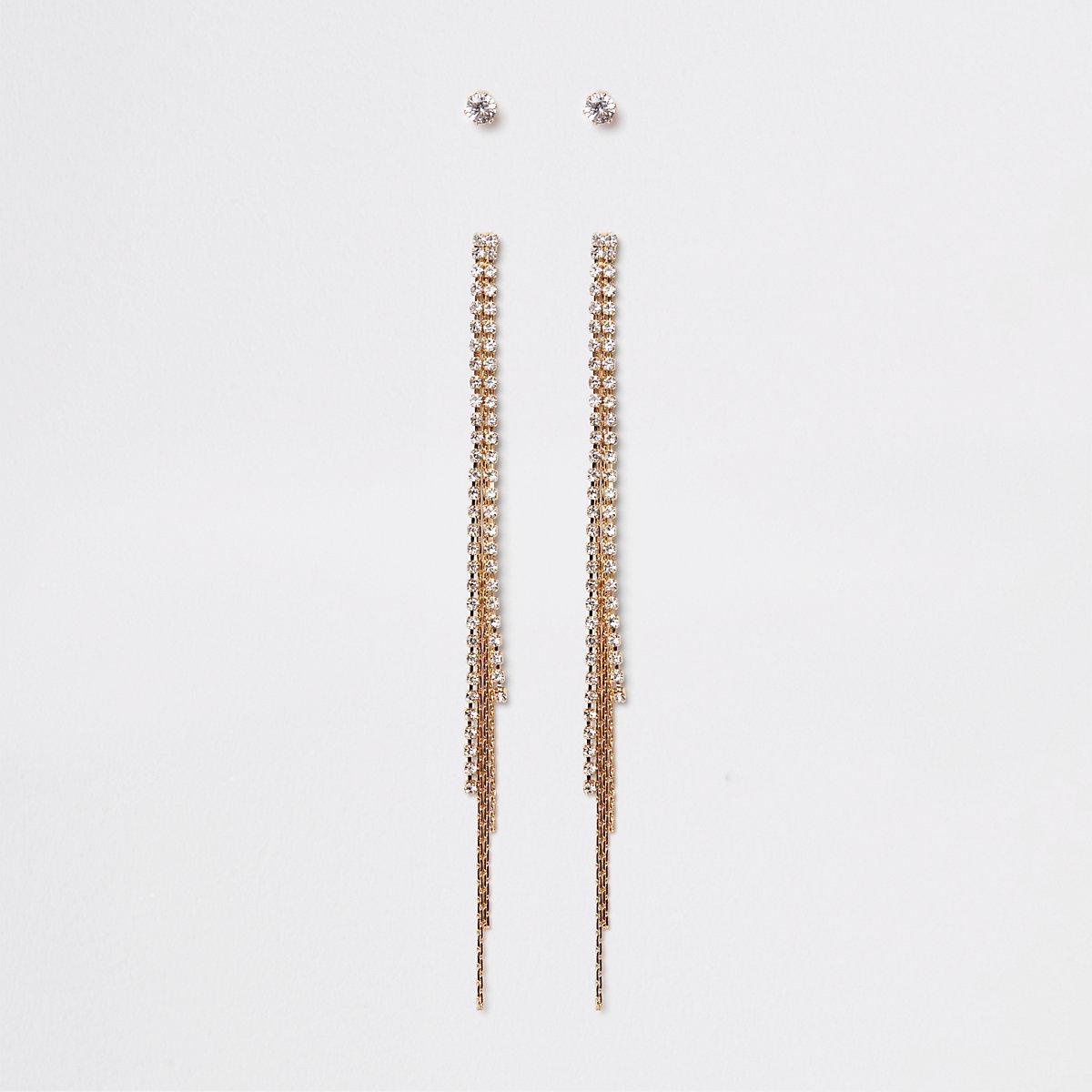 Gold tone rhinestone tassel stud earrings pack