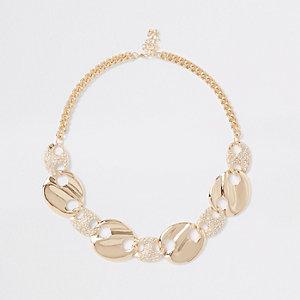 Gold tone rhinestone disc necklace
