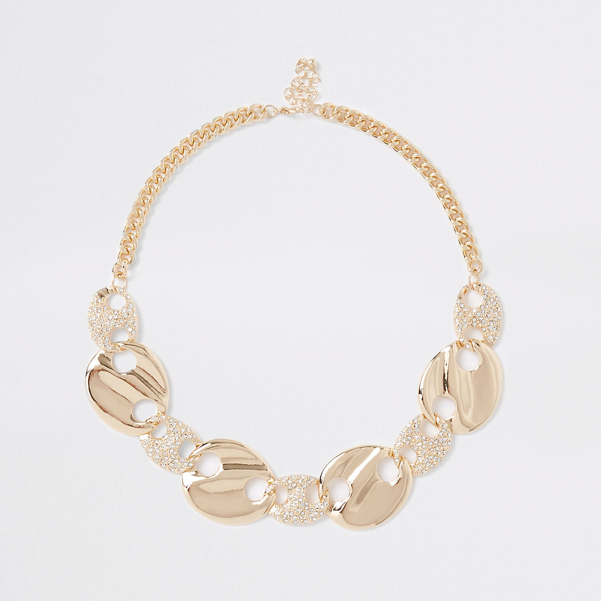 Gold tone diamante disc necklace
