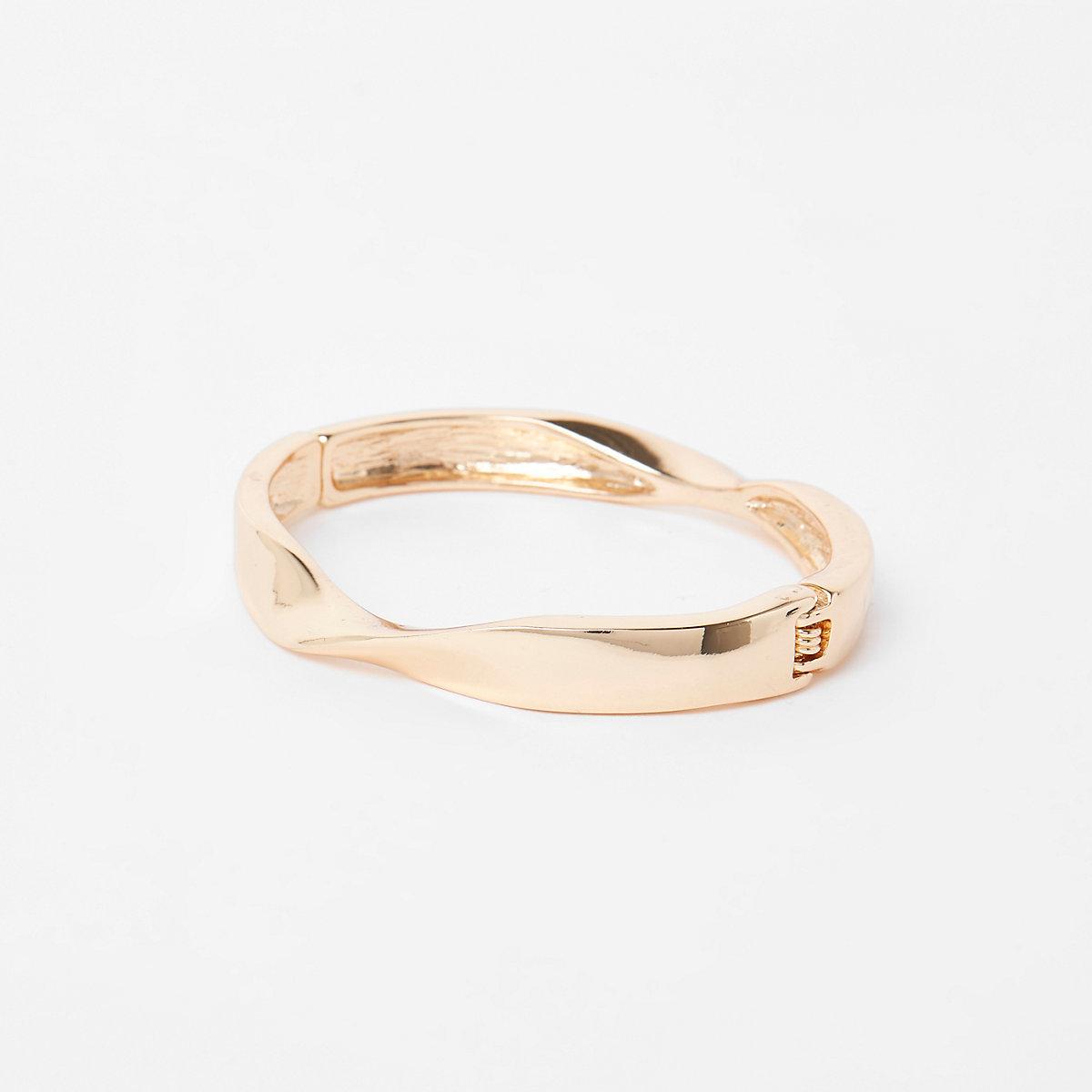 Gold color twist cuff bracelet
