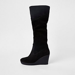 Black suede knee high wedge boots