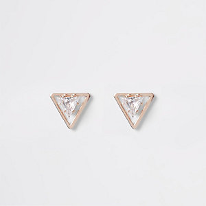 Rose gold crystal triangle stud earrings