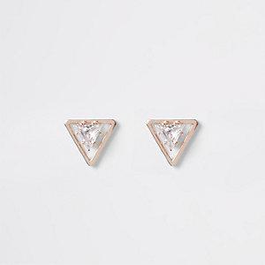 Clous d'oreilles triangle or rose en cristal