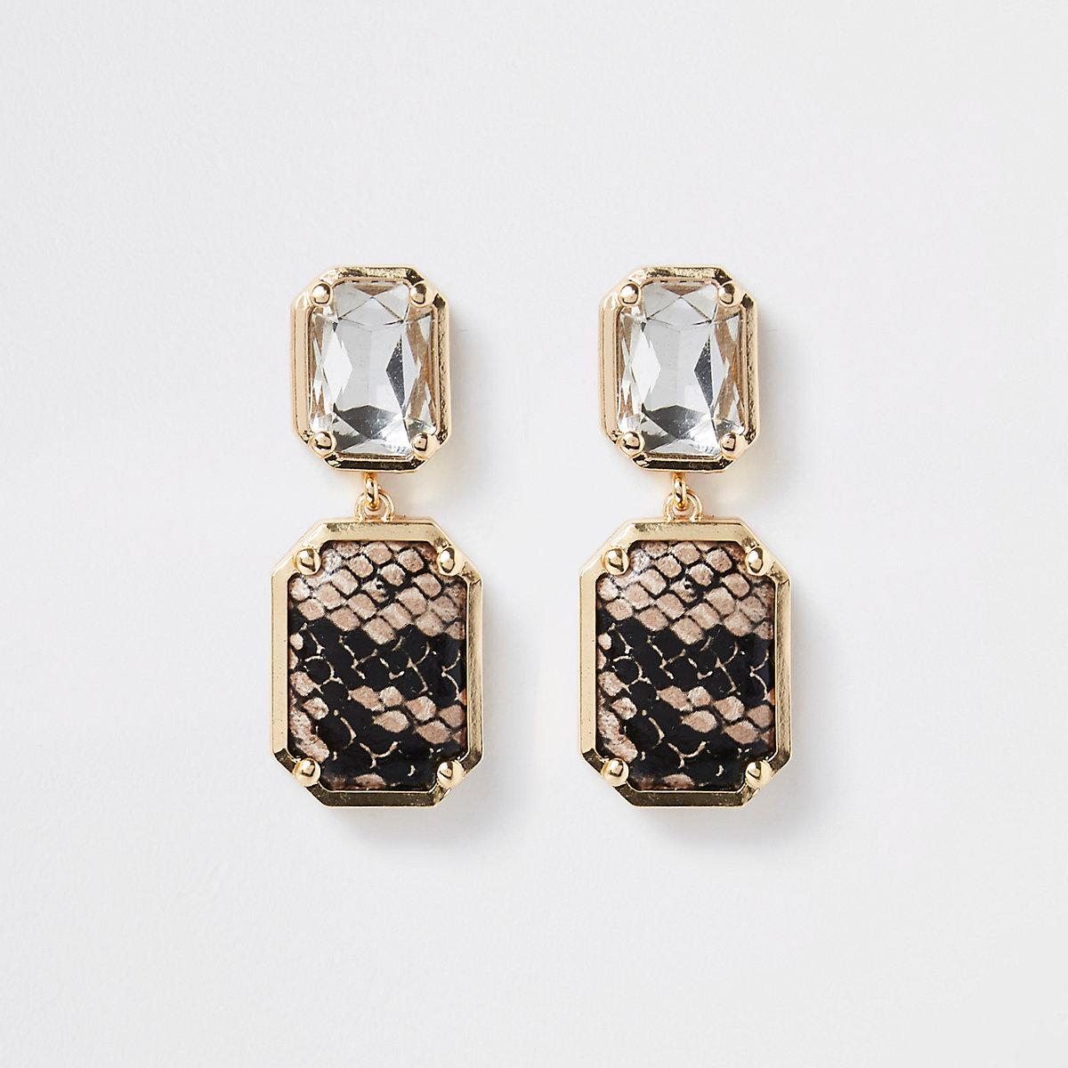 Gold tone snake print jewel drop earrings - Earrings - Jewellery - women