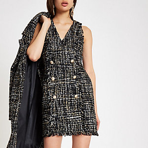 Black boucle sequin mini dress