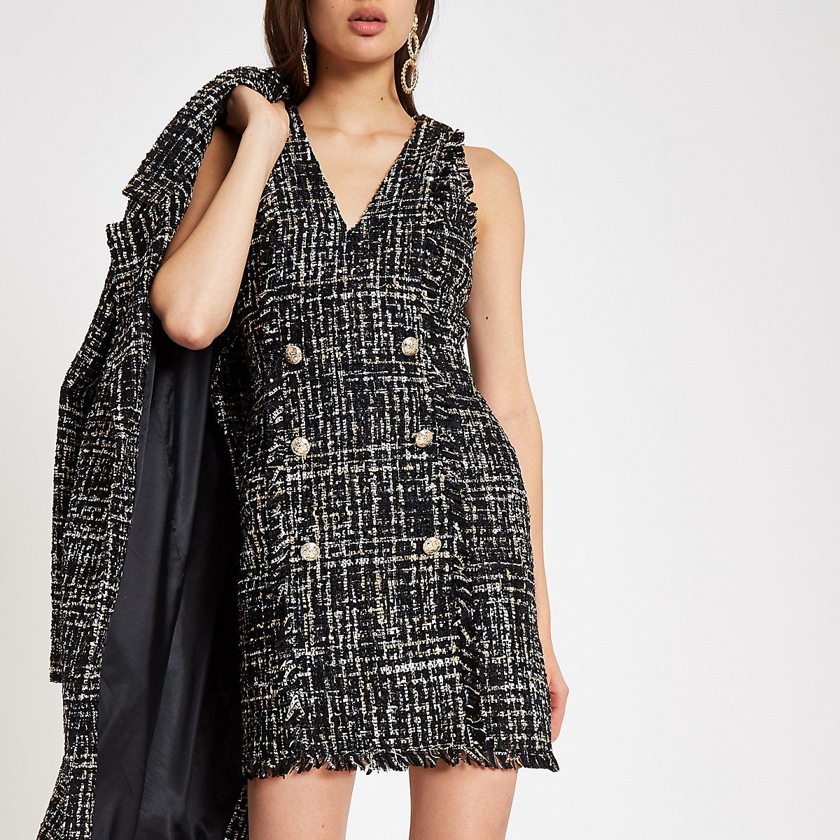 Zwarte bouclé mini-jurk met pailletten