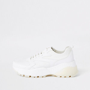 White layered sole lace-up sneakers