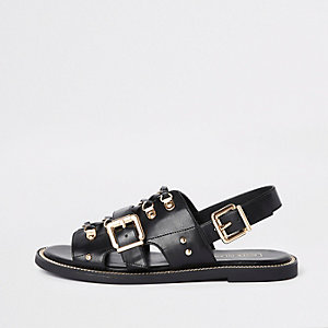 Black faux leather chain trim sandals