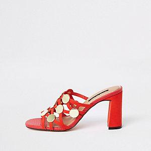 Sandales à cercle et effet cage rouges à talon carré
