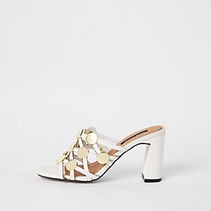 White circle caged block heel sandals
