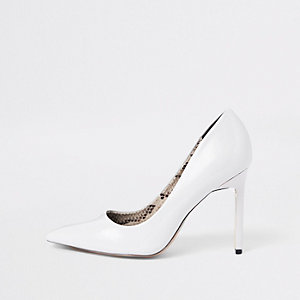 White patent court shoes