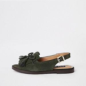 Khaki leather tassel front peep toe sandal