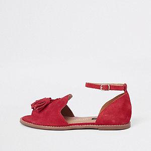 Rode suède tweedelige schoenen met kwastjes