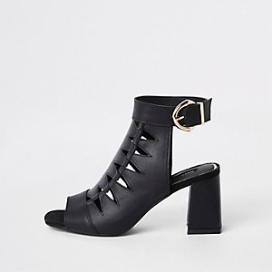 Black cut out shoe wide fit boot