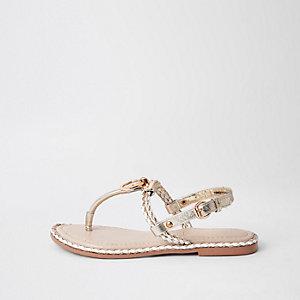 Sandales rose clair à entredoigt