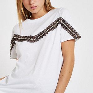 White leopard print rhinestone trim T-shirt