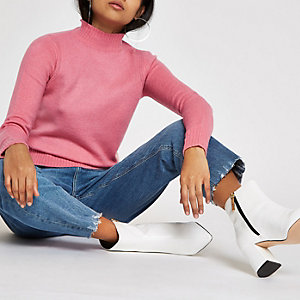 Petite pink high neck knitted sweater