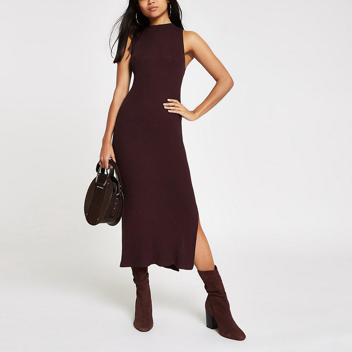 Petite brown knit sleeveless midi dress