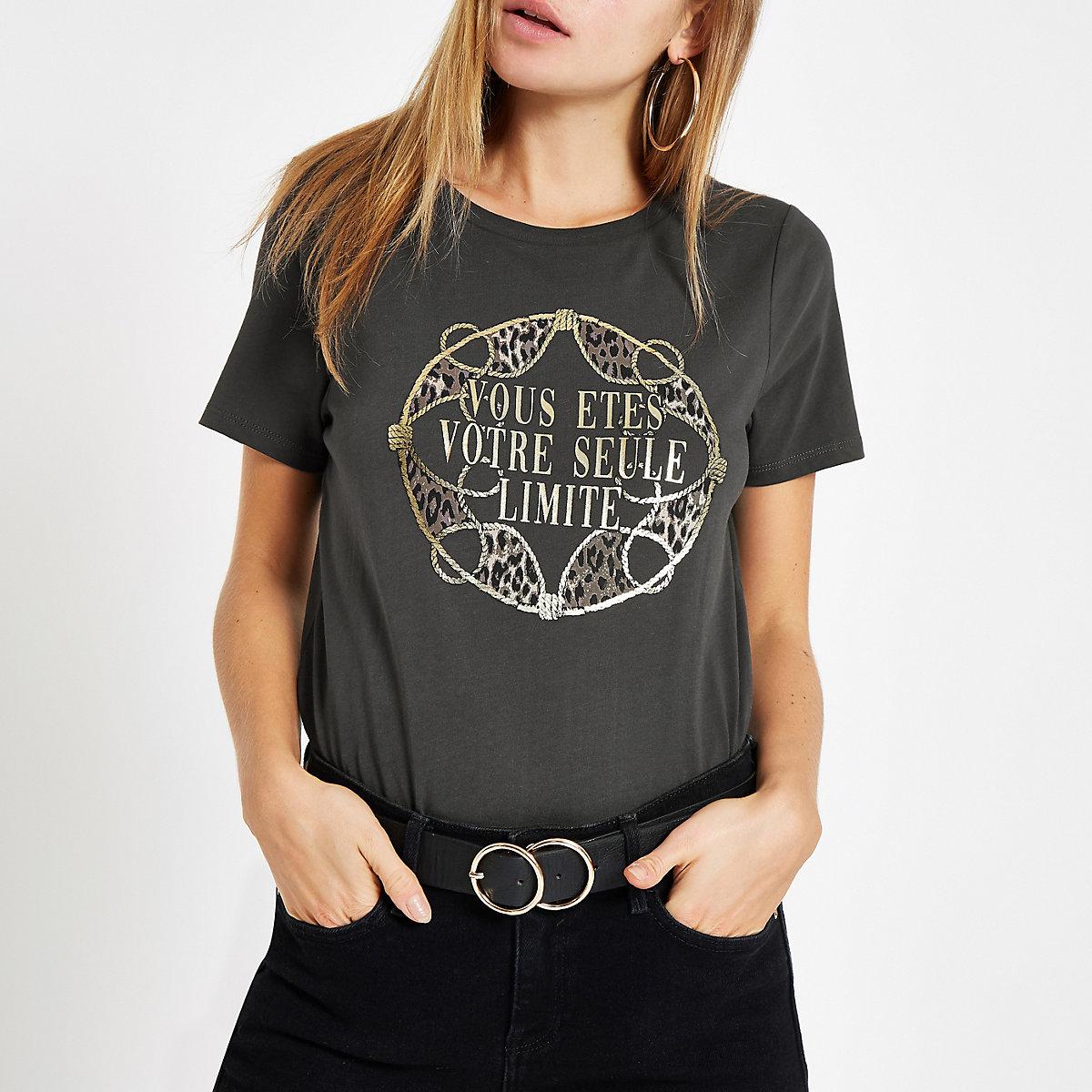 Grey 'vous etes' foil print T-shirt