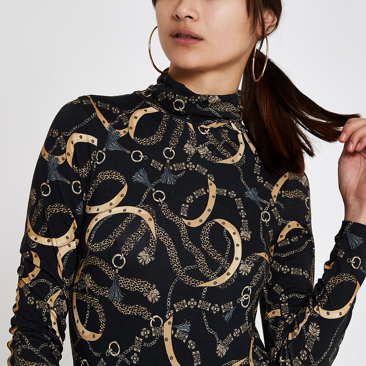 Black chain print turtle neck top