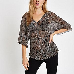 Brown leopard print plisse kimono sleeve top