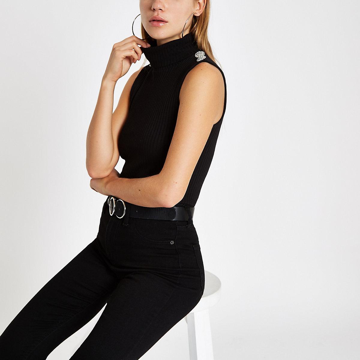 39cb7b879dda Top côtelé noir à col roulé et strass - T-shirts - Tops - Femme