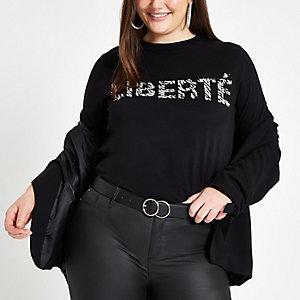 "Plus – Schwarzes T-Shirt mit ""Liberte""-Zebramuster"