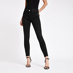 Amelie - Zwarte washed superskinny jeans met RI-logo