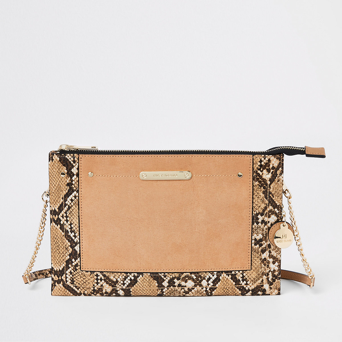 Beige snake print cross body bag